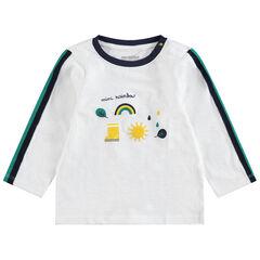T-shirt manches longues en jersey à prints fantaisie et bandes contrastées
