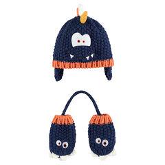 Ensemble bonnet et moufles en tricot avec détails monstres patchés