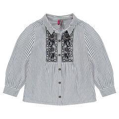 Hemd met lange mouwen, fijne strepen en opgelegd borduurwerk