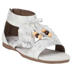 Open schoenen in veertje met fantasie in witte en zilverkleur