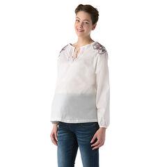 Blouse brodée de grossesse en voile de coton