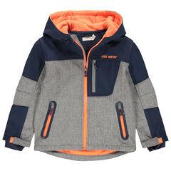 Junior - Coupe vent doublé polaire à poches zippées et touches de orange