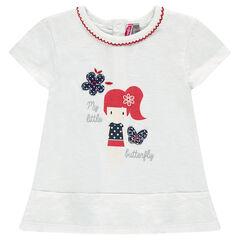 Tee-shirt long manches courtes avec poupée printée