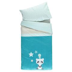 Set housse de couette et taie d'oreiller avec panda brodé