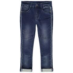 Jeans met used-effect en plooien met inzetstukken en contrasterende biezen