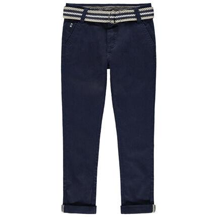 Pantalon en twill à ceinture rayée amovible