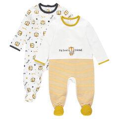 Set mey 2 pyjama's van molton met print met tijgers