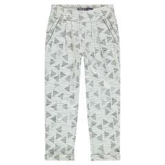 Pantalon loose en molleton jacquard imprimé graphique