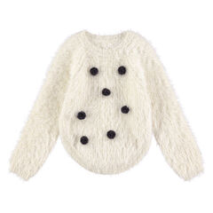 Pull en tricot poil avec pompons