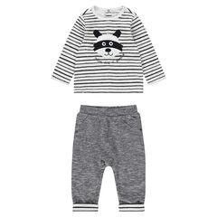 Ensemble avec tee-shirt rayé et pantalon en jersey twisté