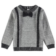 Pull en tricot fantaisie avec noeud papillon cousu