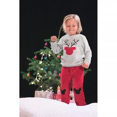 Pyjama in twee kleuren van fleece versierd met ©Disney Mickey in kerststijl