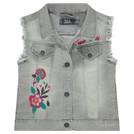 Veste en jeans effet used sans manches avec broderies florales