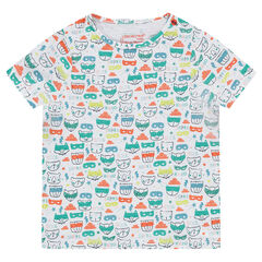 Tee-shirt manches longues en jersey imprimé animaux all-over