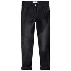 Jeans met used effect en borduurwerk achteraan