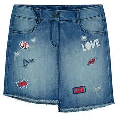 Junior - Asymmetrische jeansrok met badges