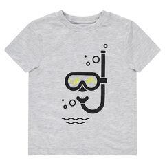 T-shirt met korte mouwen, masker en tubaprint