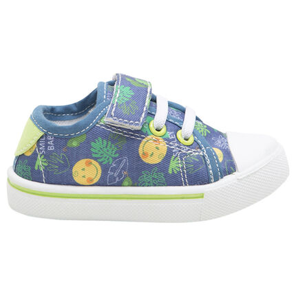 "Lage sneakers van linnen met klittenband, veters en Smiley-print ""all-over"""