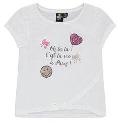 Tee-shirt manches courtes avec message printé et ©Smiley en sequins