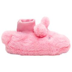 Pantoffels van roos namaakleder met konijnenhoofd