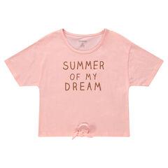 Junior - T-shirt met korte mouwen, print met boodschap en knooplintjes