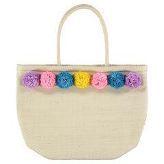 Handtas van stro met kleurrijke pompons