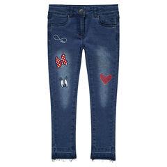 Slim-fit jeans met used effect en borduurwerk met prints