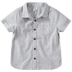 Hemd met korte mouwen, verticale streepjes en zakje