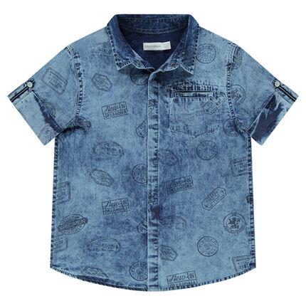 Junior - Chemise en jeans effet délavé avec logos printés all-over