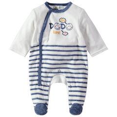 Pyjama van velours met streepjes en Smiley-prints