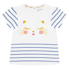 Tee-shirt manches courtes avec print chat et rayures