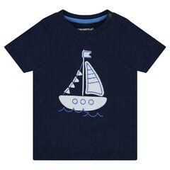Tee-shirt manches courtes avec bateau patché
