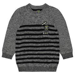 Pull en tricot chiné à rayures avec badges patchés