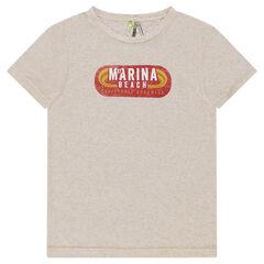 Junior - Tee-shirt manches courtes chiné avec print rétro