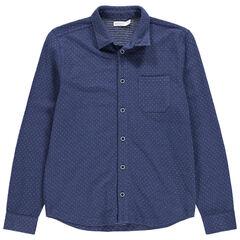 Junior - Hemd met lange mouwen met stof met piqué en zakje