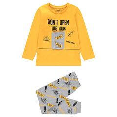 Tweekleurige pyjama met deurtje met klittenband en print met boodschap