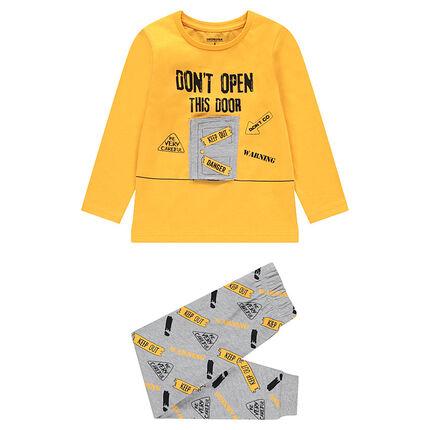 Pyjama bicolore avec porte à scratch et message printé
