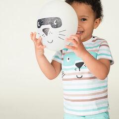 Tee-shirt manches courtes en jersey rayé avec animal masqué printé