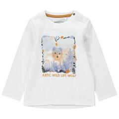 T-shirt met lange mouwen van fantasiestof met wolf