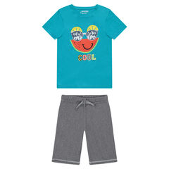 Junior - Pyjama van jerseystof met fantasieprint en met bermuda uit dunne molton