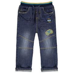 Jeans met used en crinkle effect, elastische taille en badges