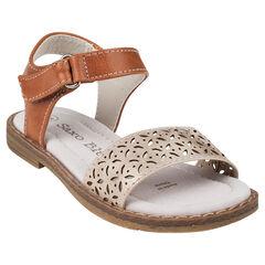 Bruine sandalen en riempjes met ajourmotief