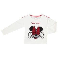 T-shirt manches longues en jersey avec Minnie Disney en sequins magiques