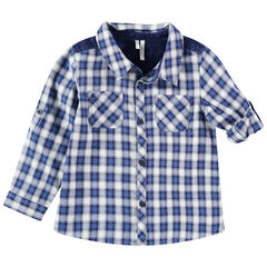 Hemd met ruitjes, zakjes en inzetstukken van jeans