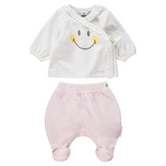 Pyjama en velours bicolore print Smiley