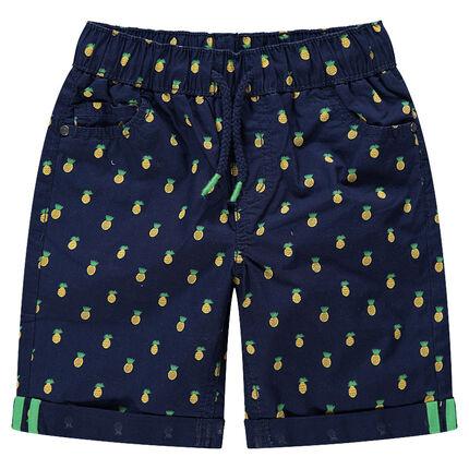 Short en coton avec imprimé ananas all-over