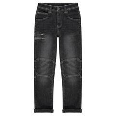 Junior - Jeans effet used et crinkle avec zip fantaisie