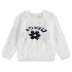 Pull en tricot poil avec motif fleur en jacquard