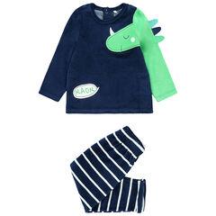 Pyjama van velours met dinosaurus en gestreepte broek