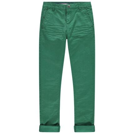 Junior - Pantalon en toile vert à poches italiennes